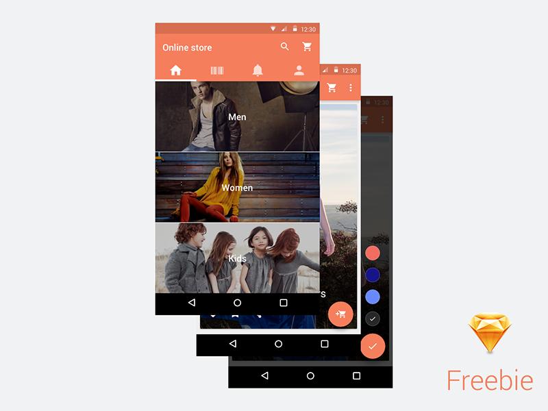 Online Store material design - sketch freebie store sketch freebie android material mobile ui resource free mockup google psddd