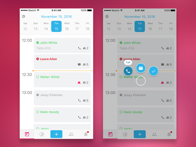 Restaurant manager concept ixd interaction sketch manager minimal pink ux ui mobile iphone reserve ios