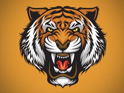 Roaring Tiger illustrator logo mascot drawing illustration microstock vector bazzier roaring tiger