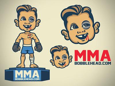 MMA bobblehead cartoon logo set set character company logo bobblehead mascot mma