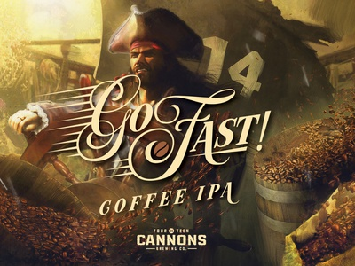 Go Fast Coffee IPA - 14 Cannons Brewing coffee illustraion beer