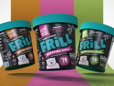 Frill Frozen Desserts dessert healthy branding food ice cream conatainer packaging