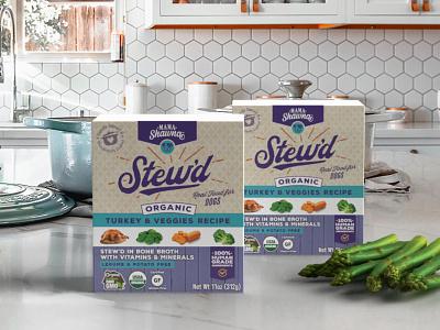 Stew'd Pet Food box design logo branding pet food packaging food