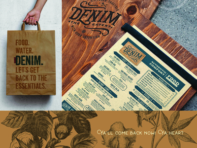 Denim The Eatery Menu & Bag menu bag branding restaurant food