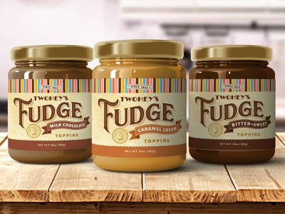 Twohey's Fudge Jars branding parlor ice cream vintage retro jar packaging fudge