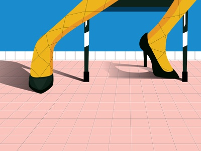 Every Shoe Tells a Story yellow women shoes women legs simple illustration room illustration graphic designer blue black fashion art colorful flat design art graphic design adobe illustration design shoes fashion illustration illustration