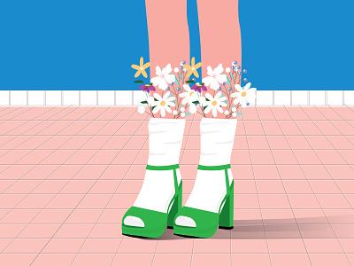 Every Shoe Tells a Story_Vol2 white green pink adone illustrator women legs flat deisgn shoes art women shoes shoes flowers graphic design illustration fashion art design colorful blue art adobe illustration