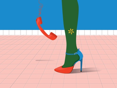 Every Shoe Tells a Story_Vol5 flat illustration women legs women shoes shoes vintage phone phone flower green red vintage illustration vintage illustration graphic design fashion art design colorful blue art adobe illustration