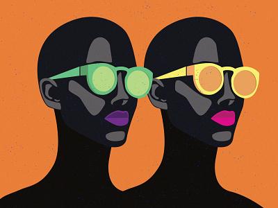 Follow Your Flow adobe art designer modern flat illustration pink green black orange black women sunglass silhouette womensilhouette women illustration graphic design fashion art design colorful art adobe illustration