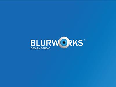 Blurworks Logo Design typography letter vector modern flat brand simple logodesign minimal logotype identity eye blue branding logo illustration art adobe illustration graphic design design