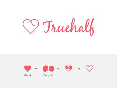 Truehalf Logo typography dating identity brand logo