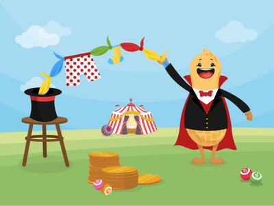 Circus Bingo - Magician hat money coins tent illustration magician magic peanut bingo circus