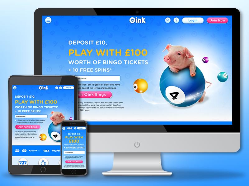 Oink Bingo is now live! casino pig ux ui gamble new website live bingo oink