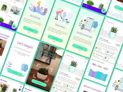 UI Design for Blossom App app concept app gardening app gardening material design android app screens ui design
