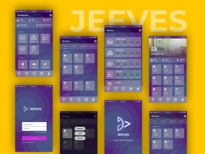 Jeeves, A Smart Home Automation App figma user interface connected home iot smart home app home automation android app design uiux