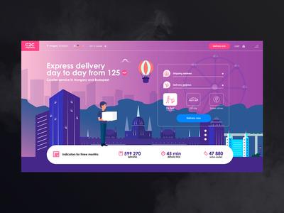 c2c   home page delivery platform flat 2d graphic illustraion city web design admin ux  ui service site platform company web ui design ux page