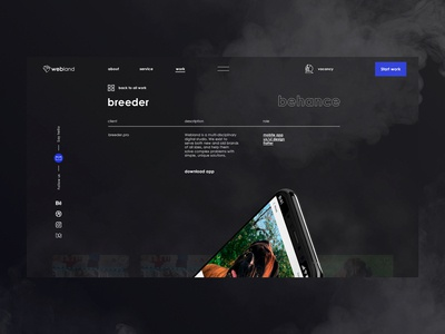 webland digital   case service site web ui design ux page design app modile gradient smoke dark digital case design studio company it project work case