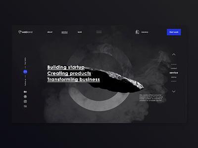 webland digital | about us site space developers digital studio web design service platform company web ui design ux promotional slider circle stone dark page about us