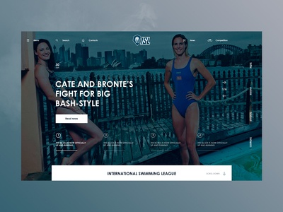 international swimming league   home page blue slider athletes web design site company web ui design ux page home ngo federation contest games olympic usa swimming sport