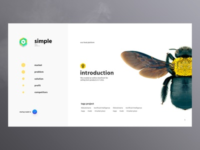 simple store | startup promo page company web design ux ui page color modern minimal store about site presentation yellow bot platform honey delivery food startup
