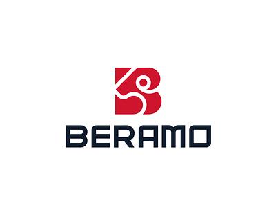 LOGO BERAMO  LETTER B + RAM red flat stong letter b ram creative modern branding logo logo design brand