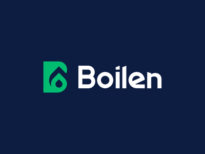 LOGO Boilen Letter B + Drop (gas, oil) + Leaf (Ecology) ecology grow dynamic drop oil engineering leaf flat creative modern branding design vector logo brand