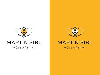 LOGO Martin Šibl - Beekeeping & Honey czechia sweet health heart yellow honey bee line art creative modern branding design vector logo design brand