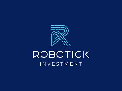 LOGO ROBOTICK INVESTMENT letter r tick data robotic investment invest logo luxury letter dynamic line art creative modern branding vector logo design brand