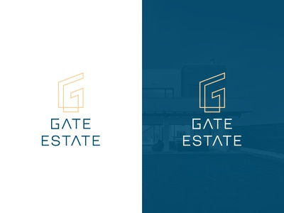 LOGO GATE ESTATE estate building real estate gold letter g letter line art creative modern branding design logo logo design brand