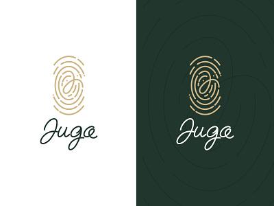 LOGO FAMILY WINERY -  JUGA gold wine typography letter fingerprint winery luxury brand dynamic line art creative modern branding logo