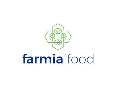 LOGO FARMIA FOOD healthyfood ecology eco recycling cross aquaponics farming green healthcare health farm leaf line art creative modern branding logo