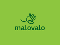 LOGO Malovalo - creative hand + leaf (eco colours)