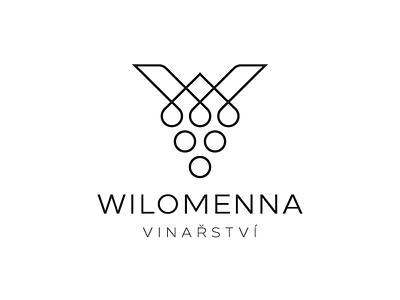 WILOMENNA WINERY - LETTER  W + WINE GRAPES czech winery drink geometric letter brand logo design vector design modern branding logo symbol monogram letter w lineart grapes grape wine viticulture