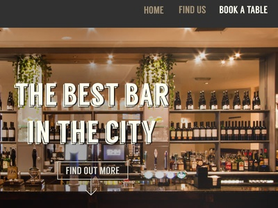 Design for new London bar web site