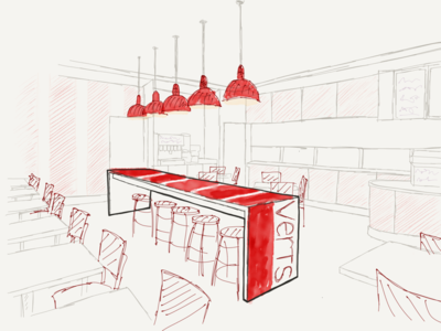 Restaurant interior verTs paper ipad apple pencil restaurant verts