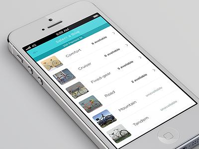 Bike Rental App flat flat ui ui clean minimal user interface mobile mobile app iphone ios list list view