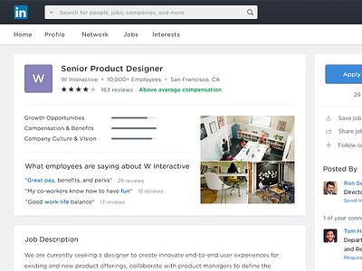 Linkedin Job Page analytics stats clean flat minimal