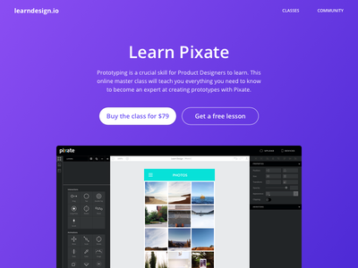 Learn Pixate learn design web landing page pixate
