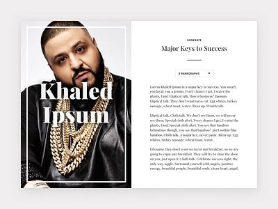 Khaled Ipsum lion lorem ipsum dj khaled typography web