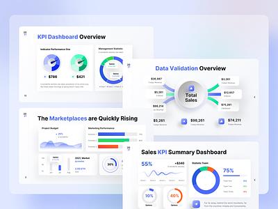 KPI Dashboard - 2021 Ultimate PowerPoint Template pitchdeck dashboard chart data marketing blue keynote business presentation powerpoint