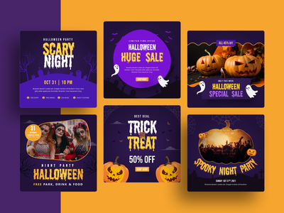 Halloween Party Powerpoint Template spooky purple google slides instagram post social media pitch deck halloween keynote presentation powerpoint