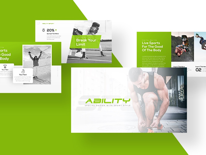Ability Sports Presentation Template presentation powerpoint player pitch deck lifestyle healthy gym game football fitness athlete activity