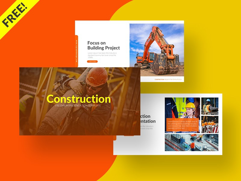 Free Construction Powerpoint Template By Rrgraph Dribbble