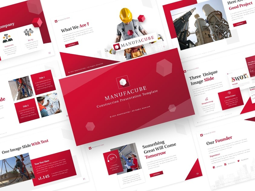 Manufacube – Construction Powerpoint and Keynote Template by RRGraph