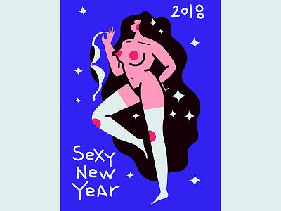 sexy new year - good girl boobs dance wooman tits 2018 strip stars girl dodle card postcard