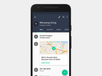 Base Detail Card Concept material design android base crm business business app cards maps deals sass