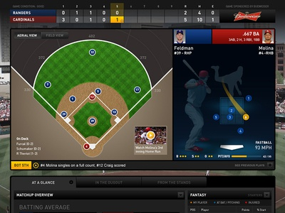 Live Baseball Digital Game Experience interface ui ux web baseball