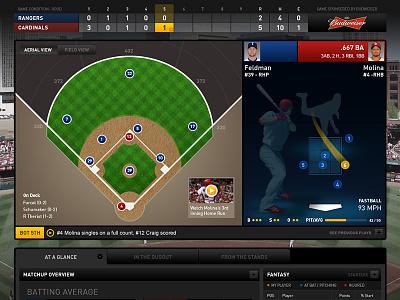 Live Baseball Digital Game Experience interface ui ux web baseball