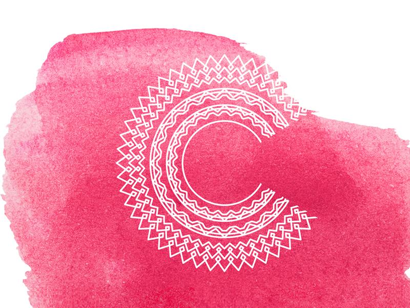 Patterned C watercolor branding pattern mark logo