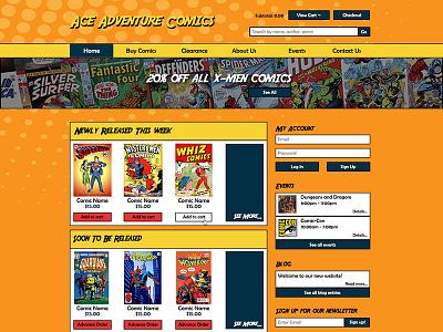 Ace Adventures Comics Website Design illustrator photoshop
